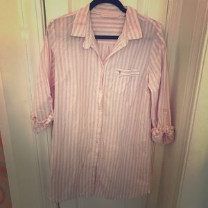 🆕Victoria's Secret pink white long sleep shirt